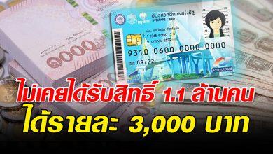 Photo of เช็กด่วน แจกเพิ่ม 'บัตรคนจน' 1.1 ล้านคน รายละ 3,000 บาท เตรียมโอนเข้าบัตร