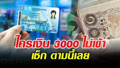 Photo of สำหรับใครที่เงิน 3,000 ยังไม่เข้าวันนี้ ให้เช็กตามนี้ รู้ผล