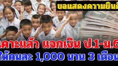 Photo of ยินดีด้วย เคาะเเล้ว เเจกเงินนักเรียน ป.1 – ม.6 คนละ 1,000 บาท นาน 3 เดือน