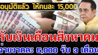 Photo of อนุมัติแล้ว เยียวย าคนละ 5,000 รับ 3 เดือน เตรียมจ่า ยกลางเดือนสิงหาคม